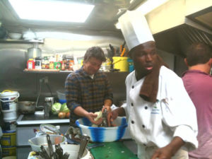 Jamie Oliver with Chef at Rice and Things Jamaican Restaurant, Bristol